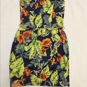 French connection totally tropical strapless dress